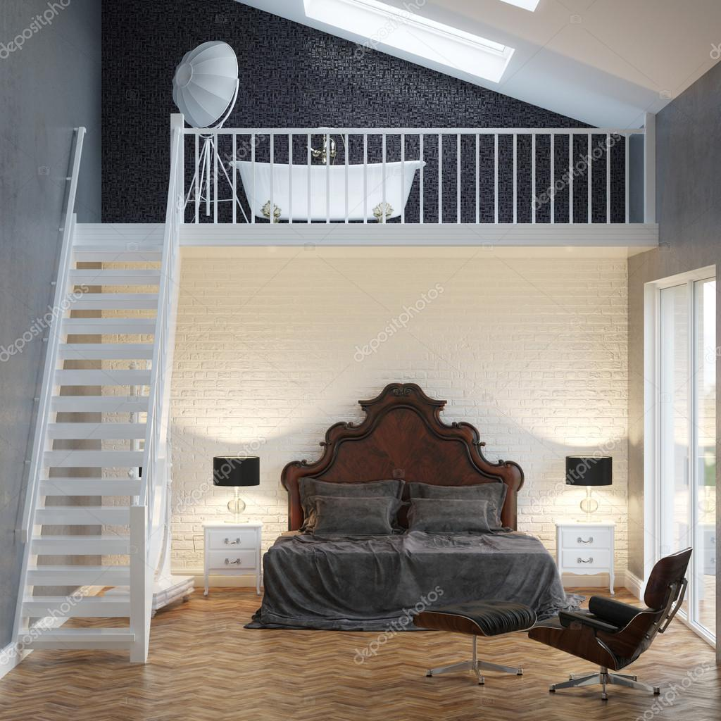 Loft slaapkamer vintage interieur met bakstenen muur en bad ...