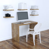 Modern Home Office Interior Design With Bookshelves 3d Version — Foto Stock