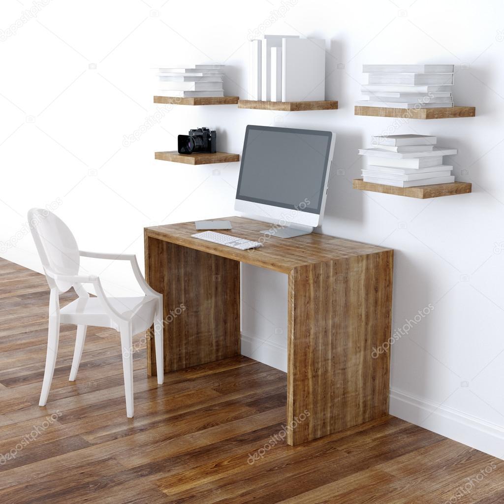 현대 홈 오피스 인테리어 디자인 책장 원근법 전망 — 스톡 사진 ...