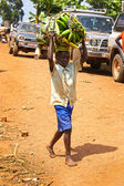 Young boy carrying a bunch of bananas on his head — Stock Photo