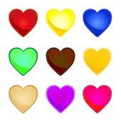 Vícebarevná srdce — Stock vektor