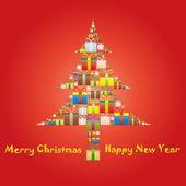 在一棵圣诞树礼品盒 — 图库矢量图片