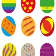 Stock Vector: Nine easter eggs