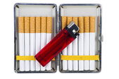 Cigarette case with lighter — Stock Photo