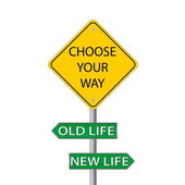 Choose your way, old or new life — Stock Vector