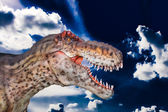 Scary Dino gigantosaurus in a dark sky — Photo