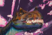 Eng dino tyrannosaurus rex in een donkere hemel — Stockfoto