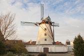 Vintage stone windmill in flanders belgium — Zdjęcie stockowe