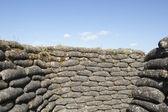 Trenches of death WW1 sandbag flanders fields Belgium — Stock Photo