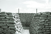 Trench of death sandbags world war one — Stock Photo