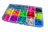 Box with colorful rubber bands for rainbow loom — Foto de Stock