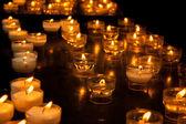 Romantic glowing long row of candlelight burning — Stock Photo