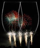 Party Szene mit Feuerwerk — Stock Photo