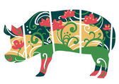 Stylized pig with flowers — Stock Vector