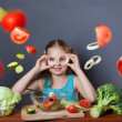 Beautiful girl with fresh vegetables — Stock Photo #46195041