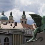 Dragon ljubljana (Zmajski most) from the side — Stock Photo #25782369