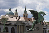 Dragon ljubljana (Zmajski most) from the side — Foto Stock