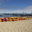 Line of colorful Kayaks — Stock Photo #26912379