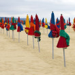 Colorful parasol on the Beach — Stok fotoğraf