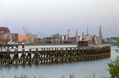 Antwerp skyline with pier — Stock Photo