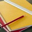 Closed notebooks with pencil and slat — Stock Photo