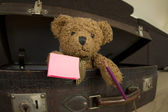 Bear in suitcase holding pencil and notebook — Photo
