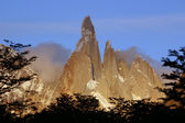 Torres del Paine with setting sun — Stockfoto