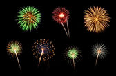 Assorted Fireworks on a Black Background — Stock Photo