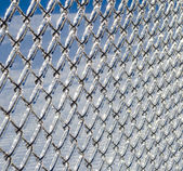 Ice coated chain link fence from an ice storm — Stock Photo