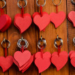 Stock Photo: Red wooden heart key chain
