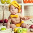 Little boy with apple. — Stock Photo