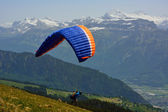 Paraglider in the Alps  — 图库照片