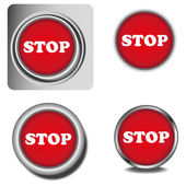 Set of stop buttons — Stock Vector