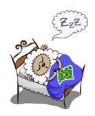 Cute sheep sleeps — Stock Vector