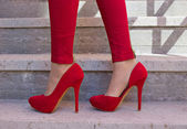 Red shoes outdoors — Stock Photo