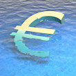 Royalty-Free Stock Photo: 3d euro drowning in water