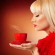 Beautiful blonde woman with coffee — Stock Photo