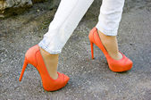 Orange shoes outdoors — Stock Photo