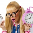 Stock Photo: Surprised girl with clock