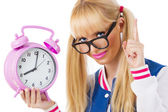 Student girl with clock — Stock Photo