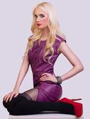 Beautiful fashionable blonde girl in dress — Foto de Stock