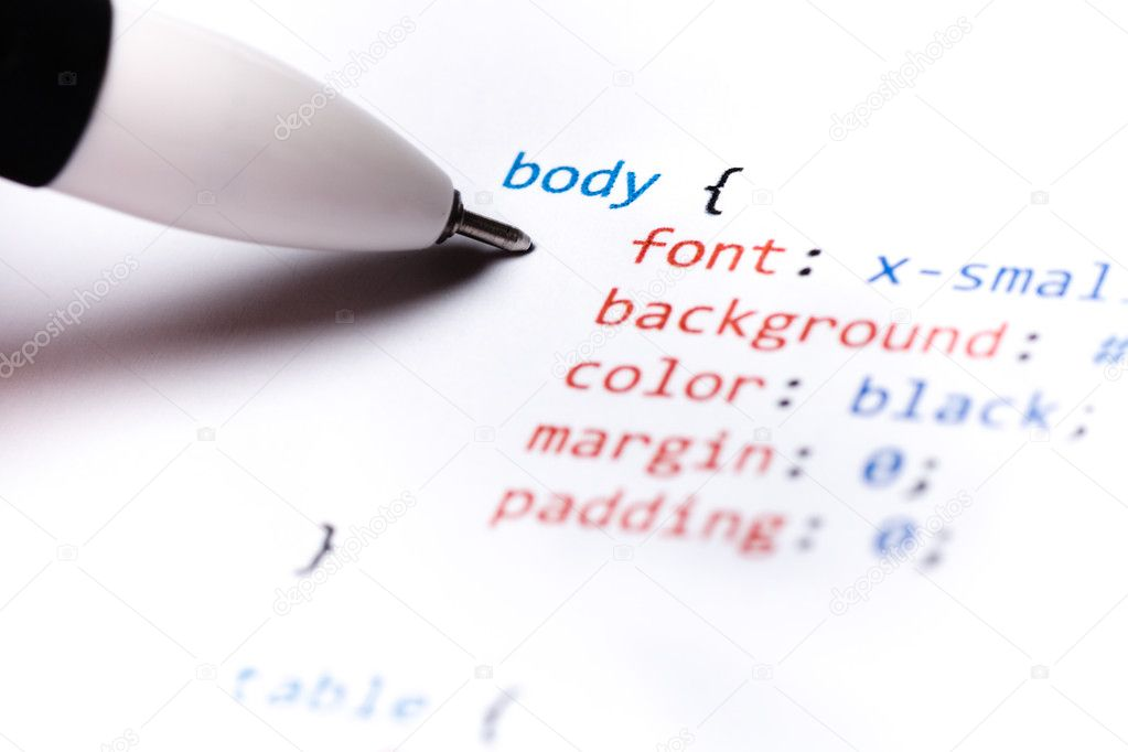 Close up of printed paper with css code — Stockfoto #13220184