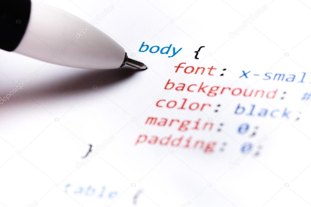 Close up of printed paper with css code — Stock Photo #13220184