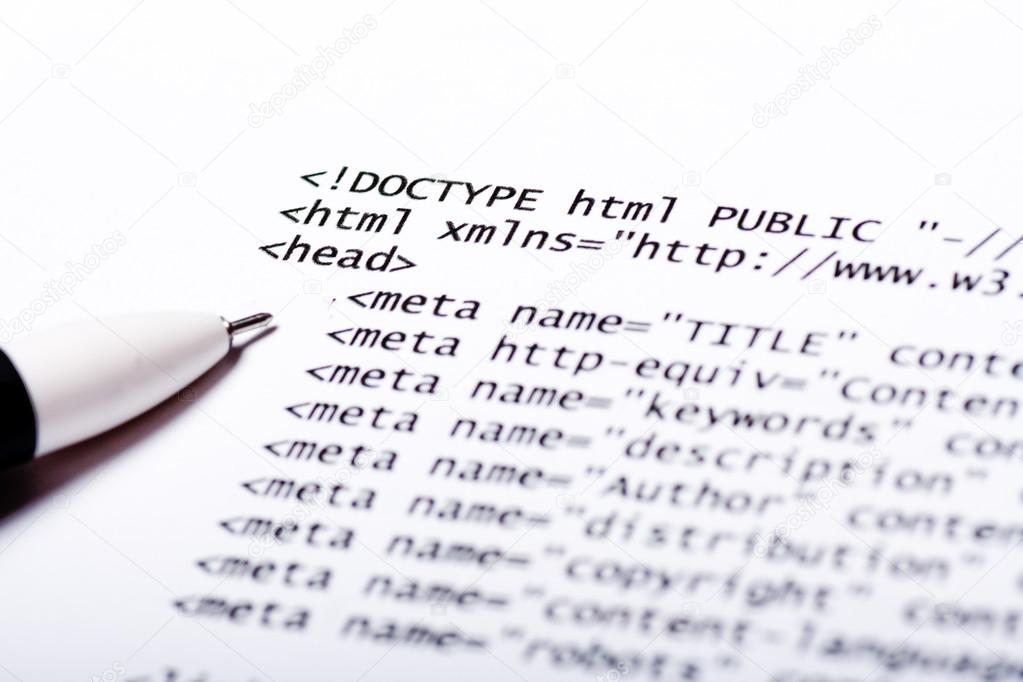 Close up of printed paper with html code  Stock Photo #13220195
