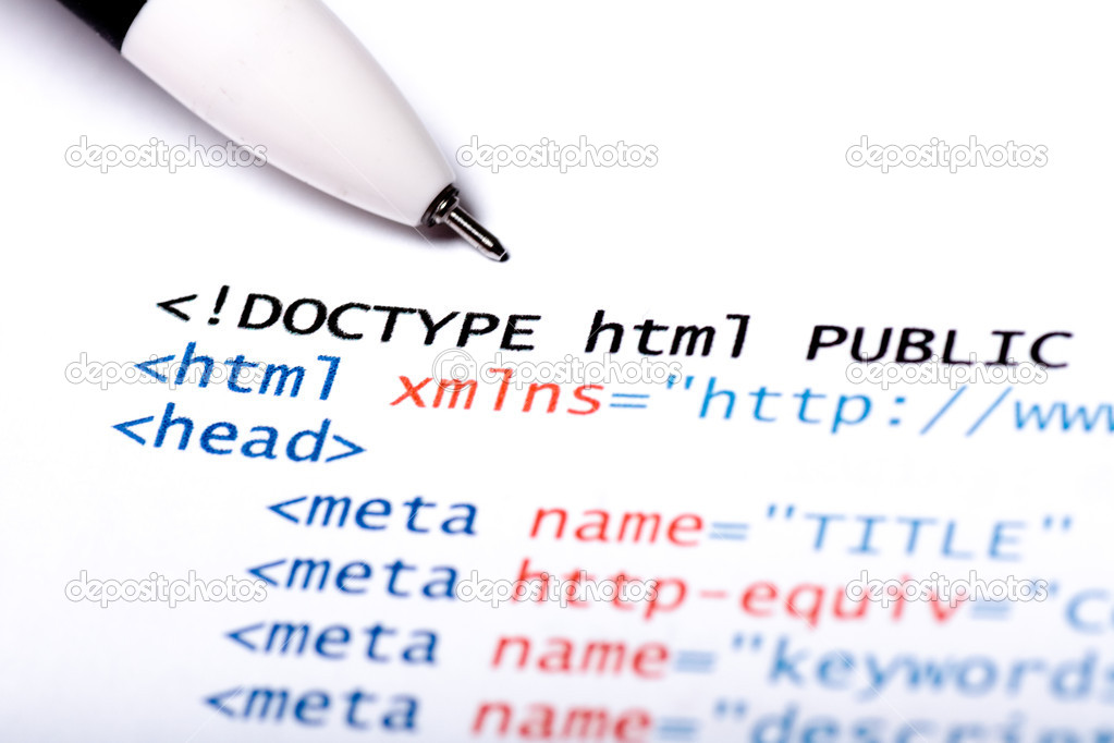 Close up of printed paper with html code — Stock Photo #13220210