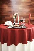 Fine table setting in gourmet restaurant — Stock Photo