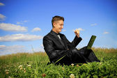 Businessman in the middle of the field on laptop — Stock Photo