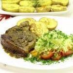 Grilled pork tenderloin with bone — Stock Photo