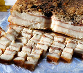 Cold-smoked pork fat — Stock Photo