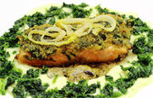 Fried salmon fillet — Foto de Stock
